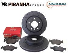 for Nissan Navara D40 Front Brake Discs Dimpled Grooved Black 296mm Mintex Pads