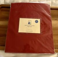 """Pottery Barn RED Sailcloth Panel Pole Tab Top Curtain Cotton 44"""" X 44"""" NEW"""