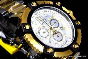 Men Invicta Reserve Grand Arsenal Watch 63mm Swiss Made Chrono Gold Plated New