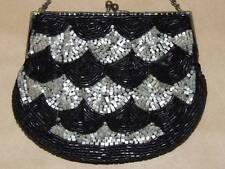Vintage SM Hand Made Black & White Satin Glass Seed Bead Purse Evening Hand Bag