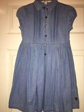 DKNY Girls Denim Chambray Blue Dress Collared Pleats 100% Cotton Size 7 EUC