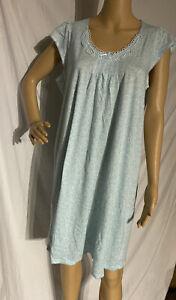 Miss Elaine Cotton Blend Short Sleeve Nightgown Blue Floral Print Large