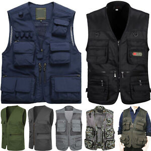 Men Waistcoat Sleeveless Multi-Pocket Safari Gilet Jacket Fishing Hiking Vest AU