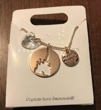 Disney Parks Cinderella Castle Home Coordinates Swarovski Crystal Necklace Rose
