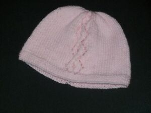 Baby Girl's Hand Knit Pale Pink Hat with Lace Pattern - 6 to 9 Months - BNWOT
