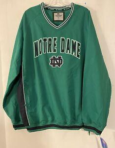 Notre Dame Fighting Irish Vintage Pullover Jacket Windbreaker Mens Sz XL Green