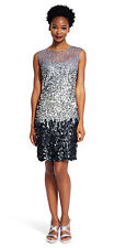 Adrianna Papell New Womens Sterling Fully Beaded Illusion Neck Cocktail Dress 10