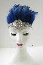 Azul marino Y Plateado Tocado Plumas Diadema 1920s Vedette Carnival Samba 9AK