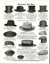 1913 ADVERTISEMENT Gentlemen's Top Hat Livery Neglige Dover Golf Opera Straw ++