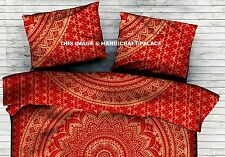 Indian Cotton Cushion Throw Gold Ombre Mandala Hand Printed Red Pillow Cover