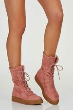 Blush pink Vegan suede creeper combat boots size 9 lace-up Olivia