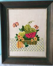 Vintage Crewel Needlepoint Embroidery Framed Art Fruit Basket Butterfly 1960's