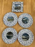 Cottage Print Ceramic Frames, Blue and white flowers