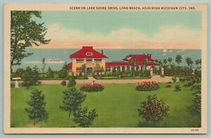Michigan City Indiana~Scene On Lake Shore Drive~Long Beach~Vintage Postcard