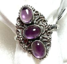 RING NATURAL PURPLE AMETHYST OVAL STERLING SILVER RING JEWELRY SIZE 7.5