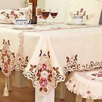 Polyester Satin Fabric Embroidery Pattern Tablecloth Runner For Home Decoration