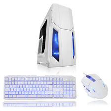 CARCASA ATX CIT tormenta Blanco 1 X 12cm Azul LED Ventilador Frontal + conjunto De Teclado Y Mouse