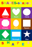 BASIC SHAPES CHILDREN KIDS EDUCATIONAL POSTER CHART A4 SIZE SCHOOL HOME LEARN
