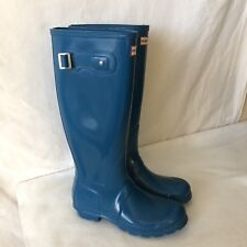 US 7 EUR 38 HUNTER Original Tall Gloss Rubber Rain Wellies Boots Blue