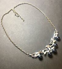 "Vintage Necklace 18"" Black Lucite Cab Clear Faceted Rhinestones Silver Tone"