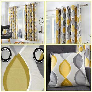 Grey Mustard Lennox Geometric Ogee Print Lined Eyelet Top/Ring Top Curtains Pair