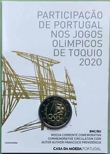 Portugal 2 Euro CoinCard 2021 Olympische Spiele Tokio Münzkarte Off.Coin Set BU