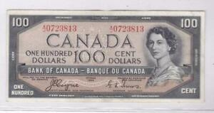 1954 BANK OF CANADA 100 DOLLARS DEVIL'S FACE BANK NOTE