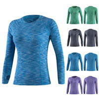 Women's Sports Gym Yoga T-Shirts Stretch Long Sleeve Tops Shirt Compression Vest