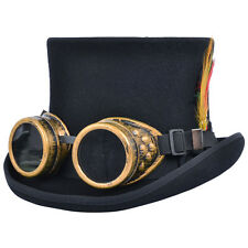 Steampunk Top Hat With Welding Cyber Goggles Goth Cosplay Antique Victorian Hat