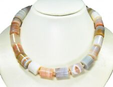 Beautiful Necklace in Botswana Agate in Cylinder Shape