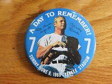 "1969 MICKEY MANTLE No. 7 NEW YORK YANKEES Retirement Stadium 3.5"" Button / Pin"
