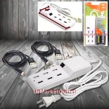 6FT 6xUSB Socket Port Output Power Adapter+2xCable fit iPhone 5/5S/6/6 Plus/7/7+