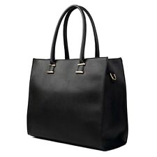Damen Tasche Handtasche Tragetasche Schultertasche im Leder Optik Gross Schwarz