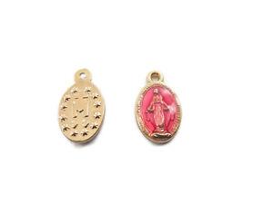 2 medagliette madonnina medie 1 foro smaltate rosa di 4,5x8,5 mm
