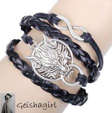 Gothic Biker Black Friendship Multi Strand Silver Tone Wolf Infinity Bracelet UK