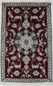 Small Size Hand Knotted Classic 3X5 Wine Oriental Rug Home Decor Entryway Carpet