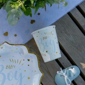 Blue Baby Shower Party Cups | Boy Gender Reveal Partyware x 10