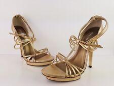 "Moda In Pelle Shoes Size Uk 40/7 Gold Stiletto Heel Height 5.25"""