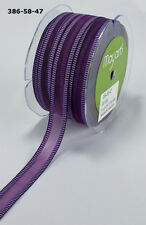 MAY ARTS RIBBONS~SHEER PURPLE WITH LAVENDER LINE EDGE RIBBON~5/8TH INCH X  1 YD!