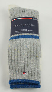 2 Pairs of New Tommy Hilfiger Men's 7-12 Grey Striped Knit Wool Blend Boot Socks