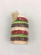 Hamburger Toothpick Holder Match Safe Ceramic Summer Picnic Cookout C