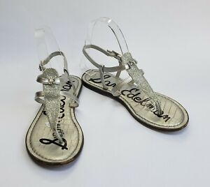 Sam Edelman Shoes Sandals Sparkle Thong Silver Womens Size 6-6.5
