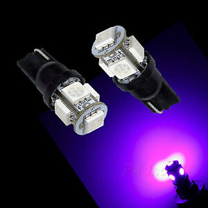 10Pcs T10 194 5SMD 5050 LED Light Bulb Auto High Bright PURPLE current fixed