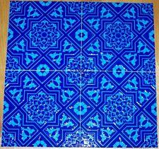 """12 Ottoman/Seljuk Pattern 8""""x8"""" Turkish Turquoise & Blue Raised Ceramic Tile"""