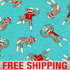 "Fleece Fabric Monkey Blue 60"" Wide Free Shipping Style AA 34373-2"