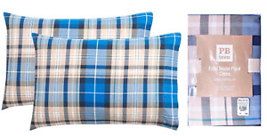 NEW (2) Pottery Barn Field House Plaid PILLOW CASES Standard 100% Cotton Blue!