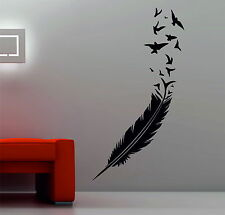 Birds Flying Out Of Feather Decor Vinyl Wall Sticker Bedroom