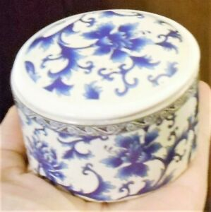"Round White Blue Floral Design Ceramic Trinket Box Container Lid Small 3"" X 2"""