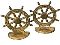 Vintage Brass Ship Wheel Bookends Nautical Coastal Style