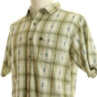 The North Face A5 Series Short Sleeve Casual Shirt Green White Plaid Blue Aztec